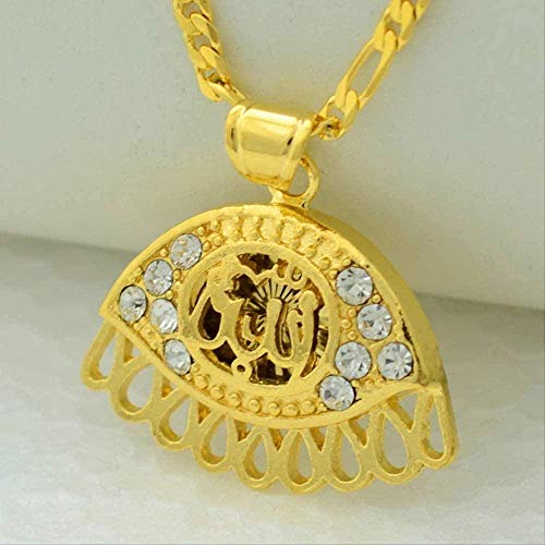 Yiffshunl Necklace Woman Allah Necklace/Eye Jewelry Rhinestone Women Islamic Pendant Necklace Chain Arab Men Gold Color Middle Eastern Muslims