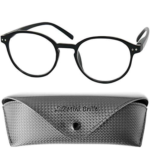 Nerd Pin Lesebrille mit großen runden Gläsern - mit GRATIS Brillenetui, Kunststoff Rahmen mit Federscharnier (Schwarz), Lesehilfe Damen und Herren +2.0 Dioptrien