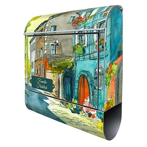 Banjado Design Briefkasten mit Motiv Historischer Stadtkern | Stahl pulverbeschichtet mit Zeitungsrolle | Größe 38x47x14cm, 2 Schlüssel, A4 Einwurf, inkl. Montagematerial mit Beschriftung