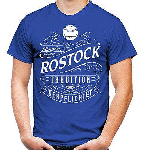 Mein Leben Rostock Männer und Herren T-Shirt | Fussball Ultras Geschenk | M1 Front (XL, Blau)