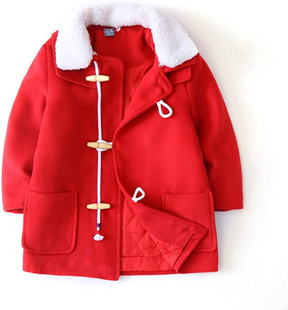 Autumn and Winter New Boys Quilted European and American Tyle Children's Thick Woolen Coat, Red, 12-18 Momths