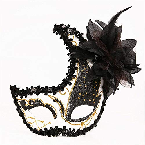 Halloween masker, herbruikbare plastic halve maan-vormige masker cosplay decor voor festival kostuum partij (zwart)