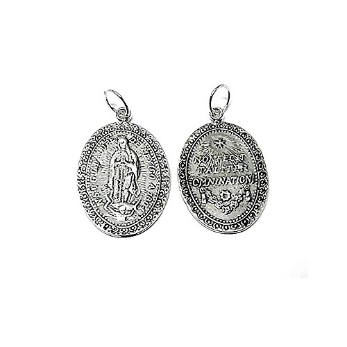 Medalla colgante plata ley 925m 30mm. Virgen Guadalupe lisa [AA7967]