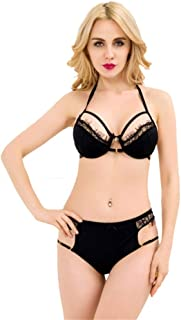4a1ad516c2a Guyi Ladies Sexy Lingerie Three-Point Hanging Neck Half Cup Bra Hollow Sexy  Underwear