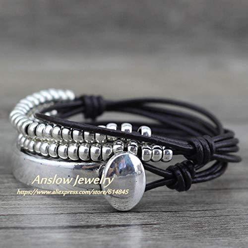 ASIG Merk Boheemse Vintage Handgemaakte Multilayer Wikkel Sieraden Vrouwen Moederdag Verjaardag Lederen Armband Bangle