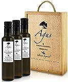 AGUS - Aceite de Oliva Virgen Extra Reserva 100% Arbequina - Selección Especial en Caja de Madera - 3x 250ml - Botella Cristal - Cosecha Temprana en Octubre de nuestra Finca en Aragón - Única Prensada