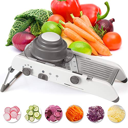 Mandoline Slicer Stainless Steel Vegetable Julienner Builtin Adjustable Safe Blades Grater  Veggie Slicer Food  Slicer Mandoline Cutter  Vegetable Cutter Maker for Low CarbFree White