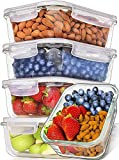 Prep Naturals Glass Meal Prep Containers (5 Pack, 36 Ounce) - Glass Food Storage Containers with Lids - Food Containers Food Prep Containers Glass Storage Containers with Lids Glass Lunch Container