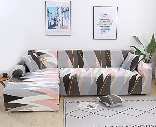 Estampado a Cuadros Moderno Estiramiento en Forma de L Funda seccional Geometría Spandex Funda de sofá para Sala de Estar Funda de sofá Ajustada A14 3 plazas