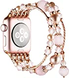 Simpeak Beaded Fashion Band Compatible with Apple Watch 38mm 40mm Series 6 SE 5 4 3 2 1, Handmade Beaded Elastic Women Bracelet Replacement for iWatch 38 40, Fixed Size 5.7-6.9, Rose Pink