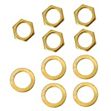 Pack of 5 Iron Jack Socket Nuts with Washers for Electric Guitar Replacement Parts - Gold