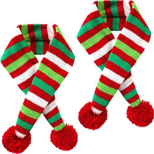 Blulu 2 Stück Weihnachten Haustier Stricken Schal Hund Winter Gestreiften Schals Weihnachten Haustier Kostüm Zubehör (XS Größe)