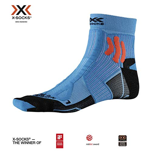 X-Socks Trail Run Energy Socks, Teal Blue/Sunset Orange, 42-44
