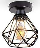 TOKIUS Lámparas de Techo Retro Diseño de Jaula de Hierro Negro Ø 16cm Vintage Lámpara Colgante...