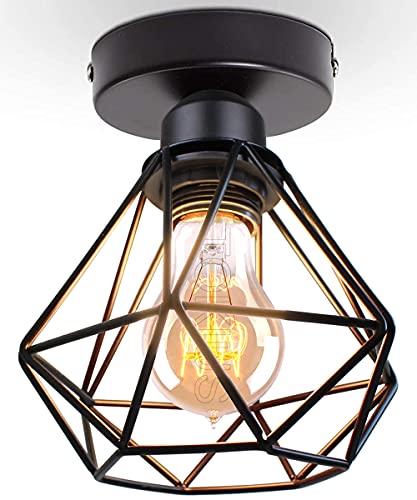 TOKIUS Lámparas de Techo Retro Diseño de Jaula de Hierro Negro Ø 16cm Vintage Lámpara Colgante Iluminación de Techo de Interior para Pasillo Porche Cocina Dormitorio (# Plafón)