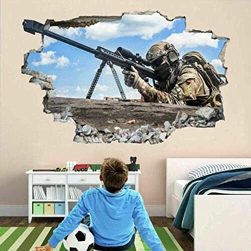 WARMBERL Pegatinas De Pared 3D Sniper Soldier Army Military War Wall Sticker Mural Decal Kids Boys Room