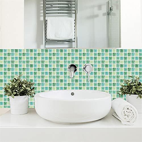HQL 10 Hojas de Pegatinas de Azulejos de Mosaico, 10 cm x 10 cm, Papel Tapiz extraíble en 3D, Adhesivo Autoadhesivo para la Pared, decoración de la Pared del hogar, para Salpicaduras de Cocina