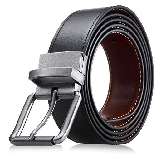 Men's Genuine Leather Dress Belt, Reversible Belt for Men Black/Brown