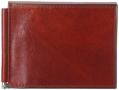 Bosca Men's Leather Money Clip with pocket In Cognac