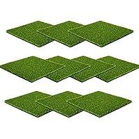 人工芝 正方形 タイル - 12 x 12インチ 小さな芝 高さ0.47インチ クラフト 屋内 屋外 ホーム ハロウィン クリスマスデコレーション 10パック