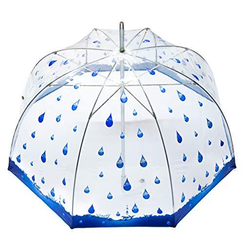 Rosemarie Schulz Regenschirm Transparent Glockenschirm durchsichtig mit Regentropfen blau Punkte - Transparentschirm