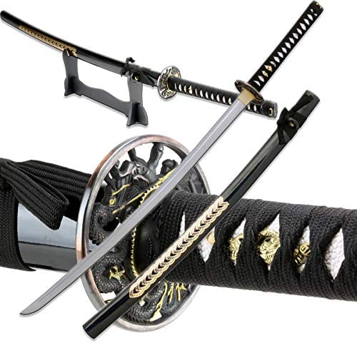 Vulcan Gear Traditional Handmade Sharp Katana Samurai Sword with Scabbard and Single Sword Wood Stand - Choose You Handle (Tsuba) Style