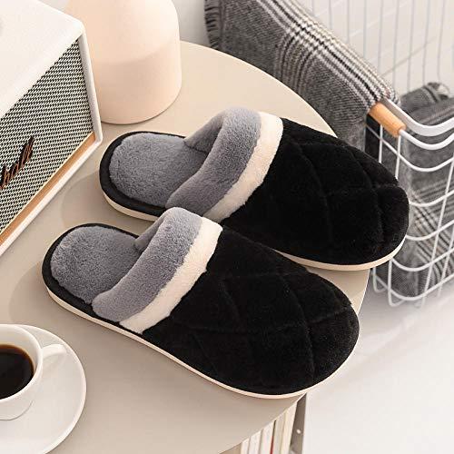 B/H Invierno CáLido Felpa Cómodo Zapatos,Zapatillas de algodón cálido de Invierno, Zapatillas de Piel Antideslizantes de Interior-Negro_39-40,CáLido Zapatos Invierno