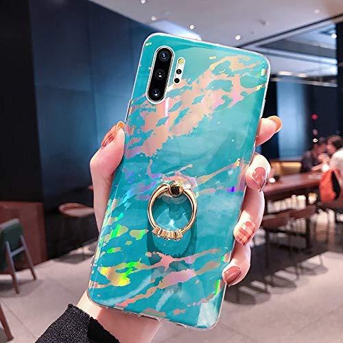 NSSTAR Compatible avec Samsung Galaxy Note 10 Plus Coque 3D Motif Marbre Coque Souple TPU Case avec Support Bling Glitter Diamant Strass Coque Silicone Ultra-Mince Antichoc Bumper Etui,Bleu