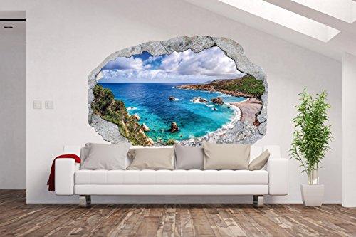 Vlies Fototapete / Poster XXL /3D Wandillusion /Loch in der Wand *Panorama /Meer / Strand / Palmen*