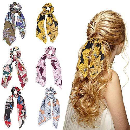 HomeChi 6 piezas de moños para el pelo bowknot, bufanda de moño floral para el cabello diademas suaves y suaves 2 en 1 titular de cola de caballo vintage cintas de pelo de gasa...