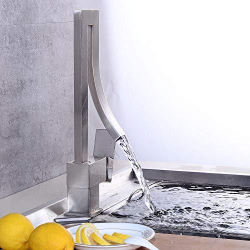 Fregadero de Cocina Monomando Grifería, Acero Inoxidable Grifo de Cocina Grifería de cocina cepillada Fregadero retro europeo Grifo de remolino Baño de cocina Grifo doble de agua fría y caliente