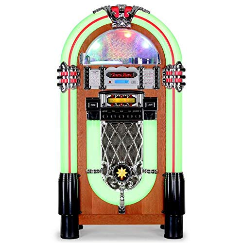 auna Graceland XXL - Jukebox, Retro Musikbox, MP3-fähiger CD-Player, USB-Port, SD-Karten Slot, 3,5 mm-Klinke AUX-Eingang, UKW Radio, 2-Band Equalizer, LED-Beleuchtung, Lichtwechsel, türkis