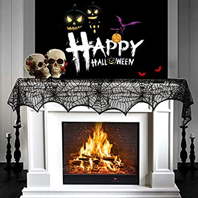GKkakuto Halloween Fireplace Decoration, 18 x 96 inch Cobweb Fireplace Scarf, Black Lace Spiderweb Mantle Scarf for Halloween Home Party Supplies, Halloween Decoration from GKkakuto