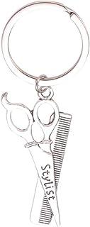 Amosfun portachiavi parrucchiere metallo stilista forbice pettine portachiavi ciondolo ciondolo forbice per amici famiglia...