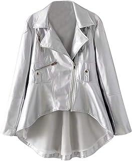 check out b81f7 f91e8 Amazon.it: Giacca In Ecopelle - Argento / Donna: Abbigliamento