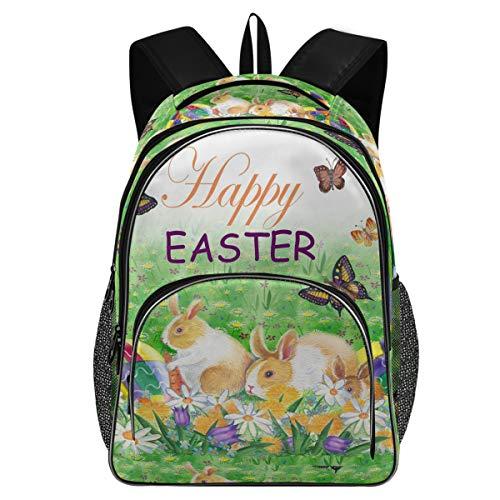 College Schule Laptop Rucksack 15,6 Zoll – Osterhasen Hasen Frühling Blumen Wasserdicht Studenten Buch Tasche mit USB-Ladeanschluss für Frauen Kinder