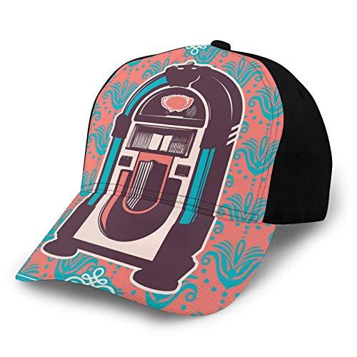 Gorra de béisbol de bajo perfil para hombre y mujer, lisa, ajustable, con diseño floral, estampado de cachemira, con caja de música retro