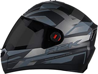 Steelbird SBA-1 R2K Full Face Graphics Helmet in Matt Finish with Smoke Visor (Large 600 MM, Matt Black with Grey)