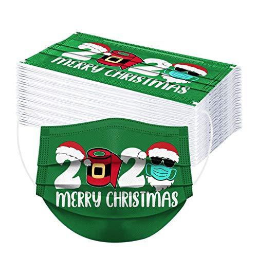 50 Stück Weihnachten Mundschutz Einweg, 2021 Christmas Druck Mund und Nasenschutz, Dreischichtig Staubdicht Maske Bandana Halstuch Multifunktiontuch Unisex Erwachsene