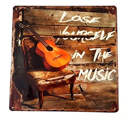 LB H&F Blechschild Retro Blech Schild Metallschild Nostalgie Musik Gitarre 30x30 cm Gross geprägt