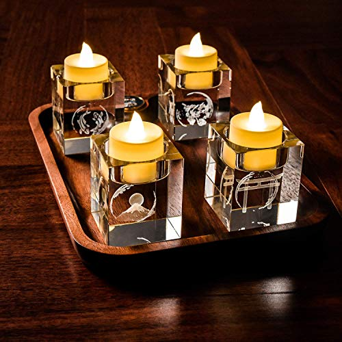 Le Sens Amazing Home Japanese Elements Cube Crystal Candle Holder Set of 4 - Solid Square Clear Glass Table Centerpiece - Elegant Votive Tealight Candlestick for Ceremony Wedding & Home Decoration