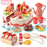 Lidasen Cake Toy Food Set, 83 PCS Cutting and Decorating Birthday Cake Pretend Toys Role Play Food Sets for Children Kids, Educational Learning Kitchen Playset Toy for 3 4 5 Years Old Girls & Boys