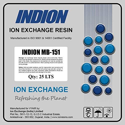 MB-151 Résine échangeuse d'ions à lit mélangé pour applications en eau pure dans les zones d'eau dure (5 litres)