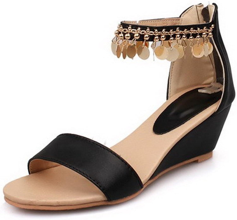 WeenFashion Women's PU Solid Zipper Open Toe Kitten-Heels Wedges-Sandals