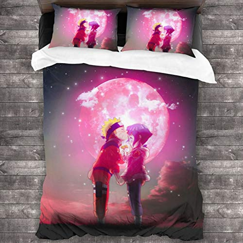 ESCFLAG Anime Naruto Hinata Three-piece Luxurious And Comfortable Bedding Soft Microfiber One Quilt Cover 86 X 70 In + Two Pillowcases 20 X 30 In