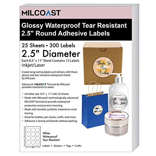 """Milcoast Glossy White Waterproof Tear Resistant Blank Adhesive 2.5"""" Round Circle Shaped Labels - for Inkjet/Laser Printers - 300 Labels (25 Sheets)"""