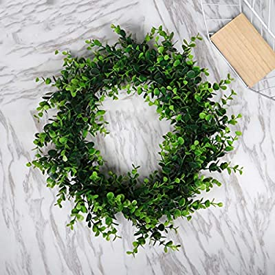 Thinktoo Green Wreath Easter Gifts ? Artificial Green Plant Wreath Simulation Green Plant Garland Home Office Decor, Home Decorations Accessories