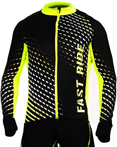 STANTEKS Radtrikot Trikott Langarm Fahrradtrikot Fahrradshirt Fahrradbekleidung Herren Damen Unisex Fahrrad Radsport Thermo Atmungsaktiv Jersey Reißverschluss Reflektoren SR0032 (Schwarz-grün, XL)