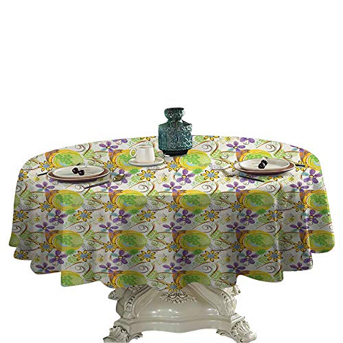 Abstract Wedding Round Tablecloth Floral Composition with Doodle Style Swirls and Petals Vintage Design Inspirations Table Cover 36 inch