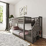 Max & Lily Twin Low Bunk Bed with Staircase, Clay